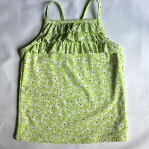 Lands' End bathing suit top tankini green daisies